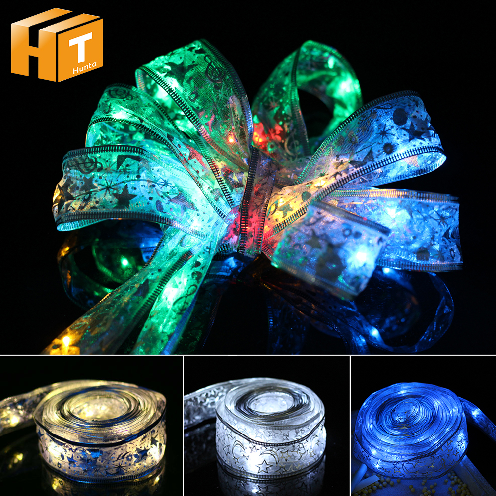 Silk Ribbon LED String Light 4M 40 LEDs For Gift Package Ribbon Christmas Wedding Party Decoration Holiday Lighting String