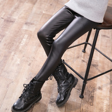 2018 Autumn&winter Girl Legging Baby Skinny Pencil Pants Keep Warm Trousers Thick Velvet Faux Pu Leather Childrens Leggings