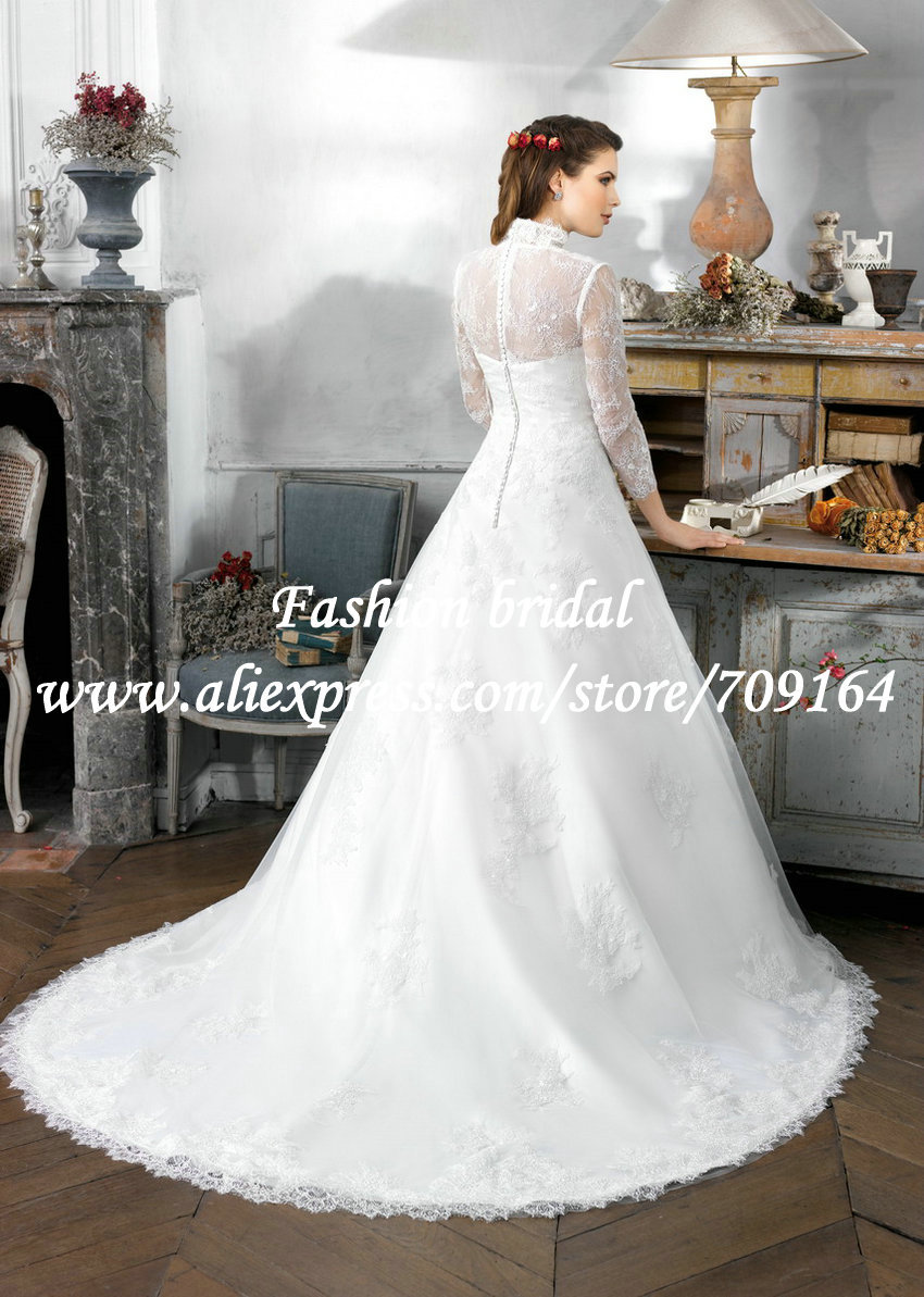 Aliexpress.com : Buy Modest 2015 Muslim Wedding Dresses A Line ...