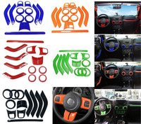 ABS Chrome Steering Wheel Trim Air Condition Vent Interior Accessories Door Handle Cover Kits For Jeep