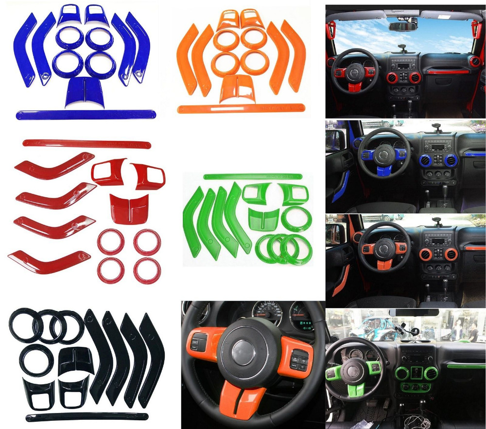 12pcs/set ABS Chrome Steering Wheel Trim Air Condition Vent Interior Accessories Door Handle Cover Kits For Jeep Wrangler JK