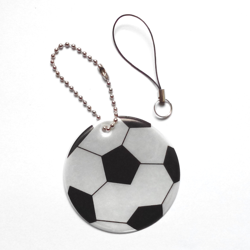 Football model reflective pendant reflective keychain for visible safety dangled on bag mobile phone clothing free