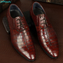 Handmade Luxury Fashion formal shoes men Wedding Party Brand crocodile shoes Genuine Leather