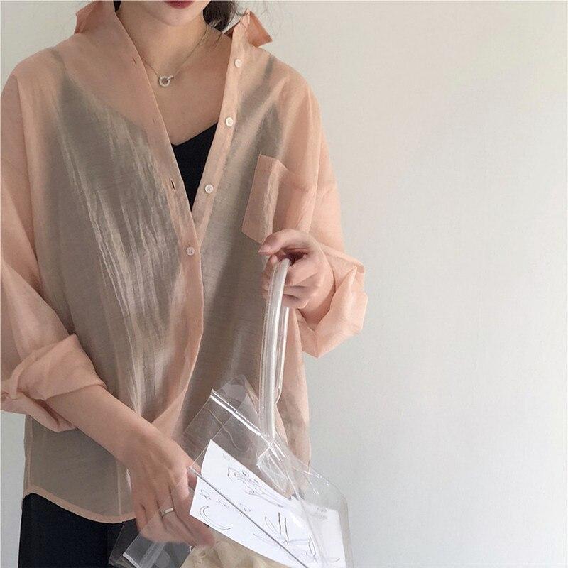 Lychee Girls Summer Women Blouse Pocket Cutton Sunscreen See Through Thin Casual Loose Long Sleeve Basic Shirt Top Female