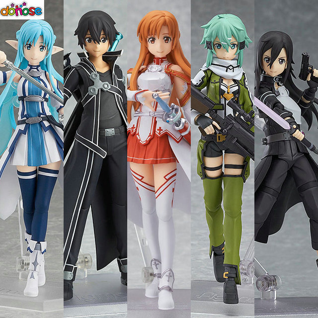 Anime Sword Art Online Figma Kirito Asuna Figure PVC Action Collection Model Kids Toy
