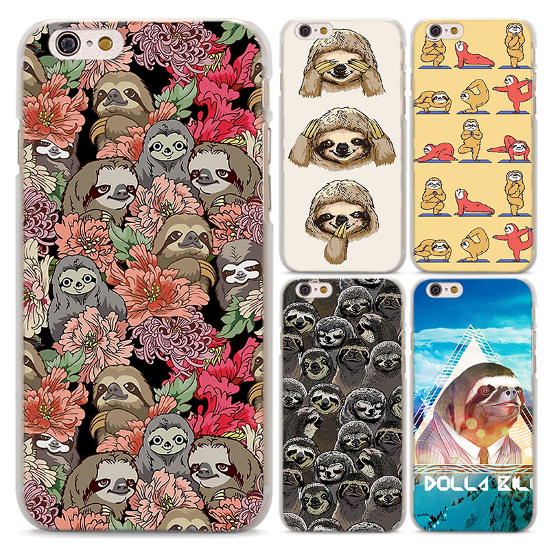 retro social Sloths with rose design transparent clear hard Case Cover for Apple