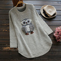 Women's Casual Solid Color Cartoon Applique Owl O Neck Sweater Knitted Long Sleeved Cute Female Vestido Pullover Sweaters U649