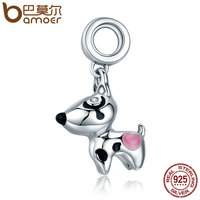 BAMOER Authentic 100 925 Sterling Silver Cute Puppy Doggy Dog Animal Pendant Charms Fit Bracelets DIY