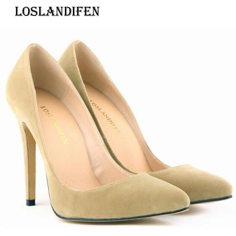 Loslandifen Fashion Ladies Sexy Suede Pointed Toe Daily Party Pumps Women  Thin Heel Spring Autumn Flock 5dcac1fe525a