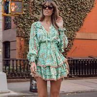 HXJJP 2019 Summer Boho Playdress Dress Rayon Turquoise Summer Dresses Mini Women Dresses Long Sleeve Party Dress Women MF482