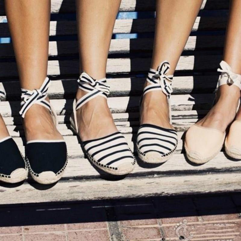 Classico di trasporto libero Espadrillas Donne 2018 ins Donne di Estate Degli Appartamenti Cinturino Alla Caviglia sandali pescatore Donna Lace-up scarpe di Tela di Canapa Fondo Piatto scarpe