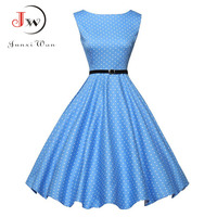 Polka Dot Bow Summer Dress Women Retro 2017 Audrey Hepburn RockabillyPinup Ball Grown Party Dresses Robe