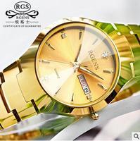 RGENS brand luxury gold mens watches quartz tungsten steel man wristwatches calendar week waterproof diamond male clocks