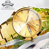 RGENS brand luxury gold mens watches quartz tungsten steel man wristwatches calendar week waterproof diamond male clocks