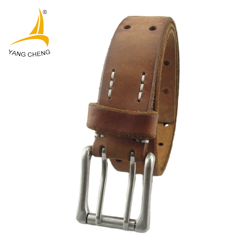 [CNYANGCHENG]3.5cm sliver double pin buckle tan genuine leather belt handmade holes 100% cow leather belt fashion casual belt