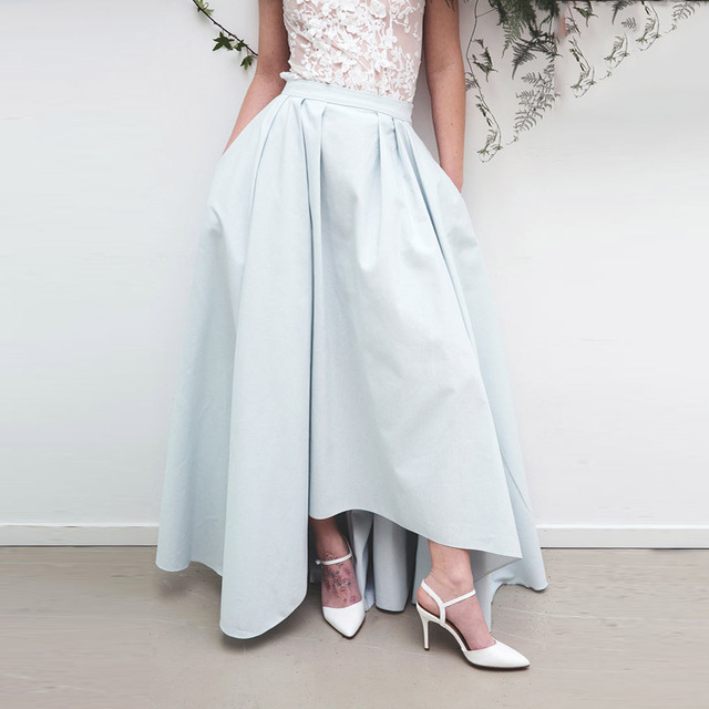 ab465d1863f9 Vintage Light Sky Blue High Low Satin Skirts With Pockets High End Custom  Made Long Skirt Women To Prom Zipper Female Skirt 2017