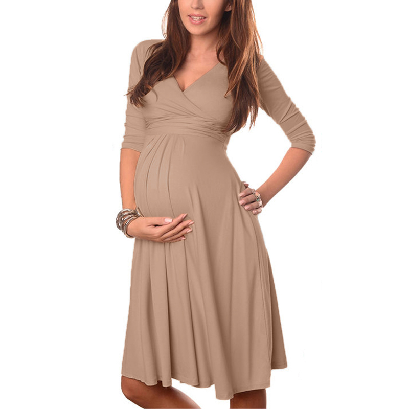 Maternity Clothes 2018 Summer Pregnant Women Dress Casual Sexy V Neck 3/4 Sleeve Solid A-line Dresses Plus Size Vestidos