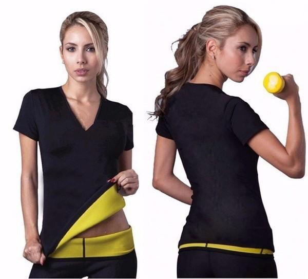 2016 Hot New shapers mujeres neopreno camisetas de la talladora elástico sudoración adelgazar la camisa de entrenamiento mujeres talladora del cuerpo