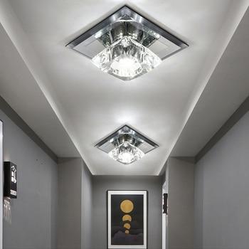 Crystal 5W LED Ceiling Lights Fixture Modern Decor Lamp Black glass Aisle Hotel Surface/Flush Mounted
