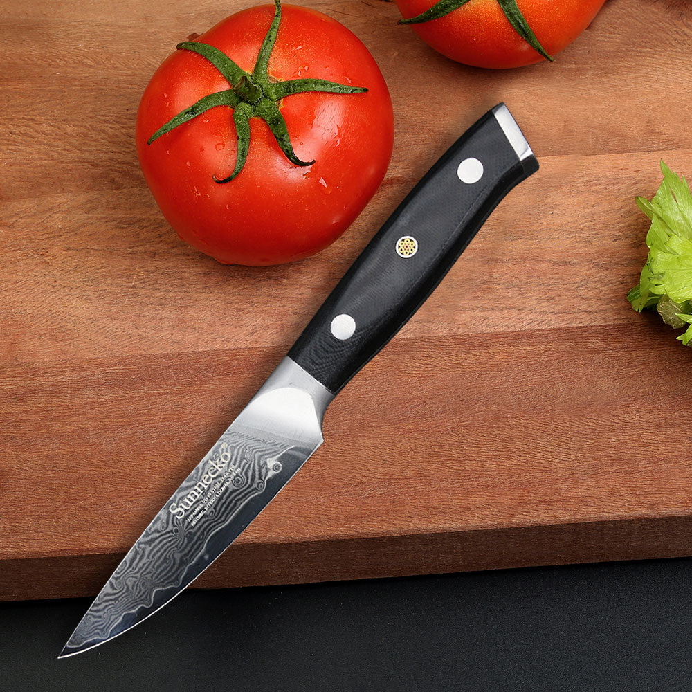 SUNNECKO 3.5 inches Paring Knife Japanese Damascus VG10 Steel Sharp Blade Knife Kitchen Knives G10 Handle Fruit Cutter KnifeSUNNECKO 3.5 inches Paring Knife Japanese Damascus VG10 Steel Sharp Blade Knife Kitchen Knives G10 Handle Fruit Cutter Knife
