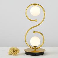 Modern 2 heads ball glass table lamp of creative fashion warm bedroom bed lamp living room decoration table light ZA81828