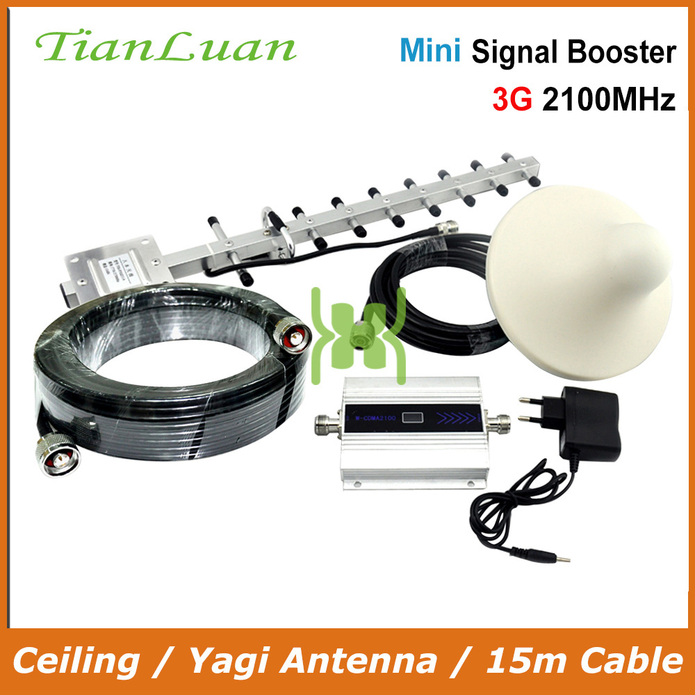 TianLuan Mini W CDMA 2100MHz Signal Booster Mobile Phone 3G Signal Repeater with Yagi Antenna Ceiling