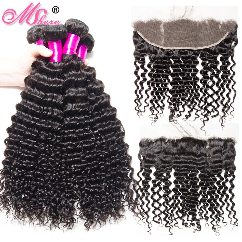 Deep Wave Human Hair Bundles With Lace Frontal Closure With Baby Hair 3 Bundles With Closure