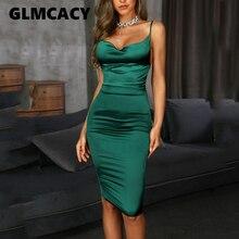 Женское элегантное сексуальное облегающее платье на бретельках, женское платье миди с драпировкой и открытой спиной на бретельках