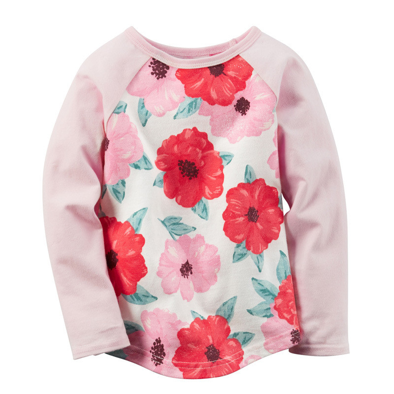Hot selling kids long sleeve t shirts baby girls striped cartoon spring autumn winter t shirt with printed flowers top kids tees color block striped long sleeve top