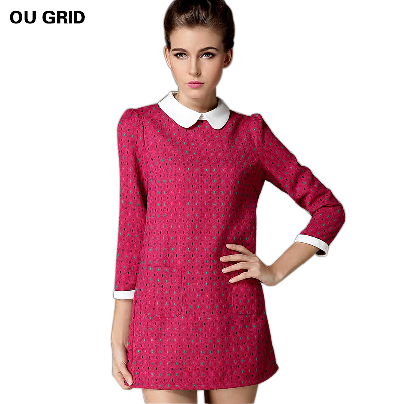 US $57.7 |Women Vintage Dress New 2016 Long Sleeve Peter Pan Collar Autumn  Dress Fashion Polka Dots Loose Plus Size Dress vestidos XL 4XL-in Dresses  ...