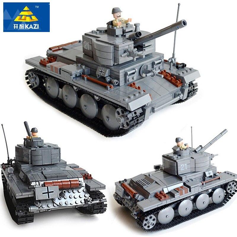 цена на KAZI 868Pcs LegoING Military German Tiger WW2 Tank Bricks PZKPFW-II Tank Building Blocks Sets Educational Toys for Children