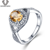 DOUBLE R Natural Diamond 1.2ct Oval Real Citrine 925 Sterling Silver Ring Diamond Gemstone Jewelry Embroidery