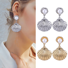 HOCOLE Fashion Metal Shell Pearl Drop Earrings For Women Bohemian Gold Silver ZA Dangle Earring Statement Female Jewelry