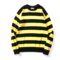 Kpop Distressed Stripe Sweater Unisex Relaxed Fit Drop Shoulder Crewneck Pullovers Free Shipping