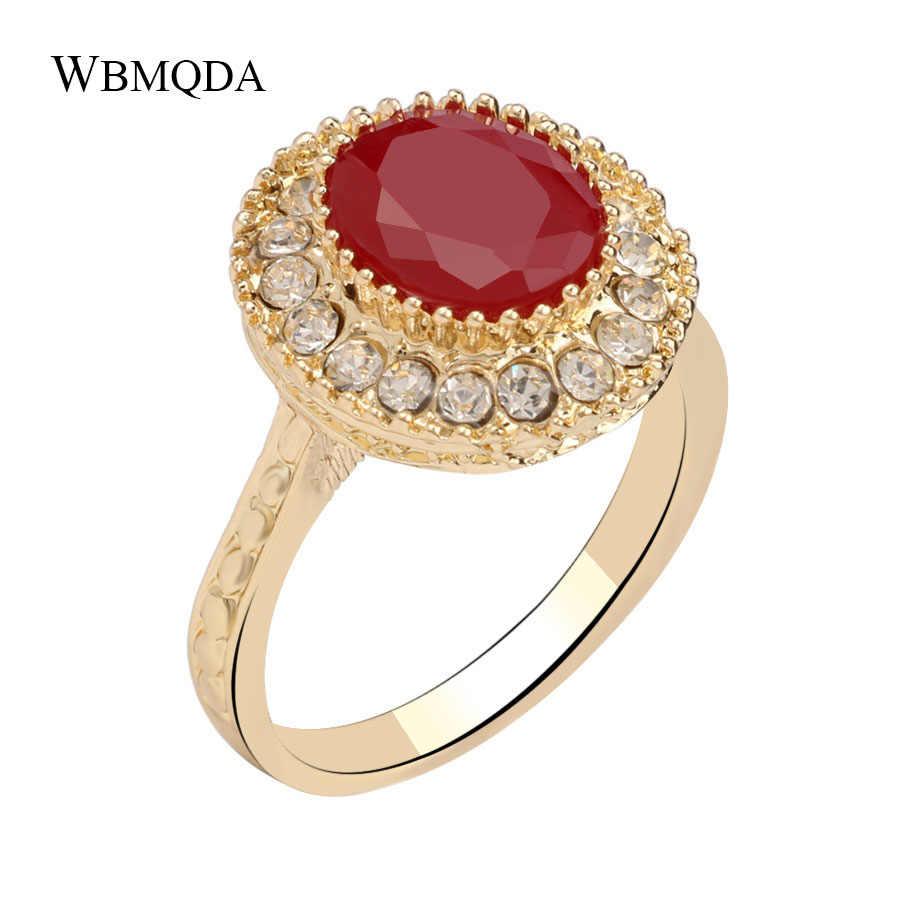 ファッションブルガリアジュエリー高級ラウンド赤い樹脂婚約リングヴィンテージクリスタルゴールドの結婚指輪送料無料