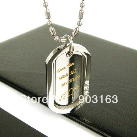 Wholesale 1pcs Guaranteed 100% New Stainless Steel Brand Engraving Pendant Free Chain + free shipping