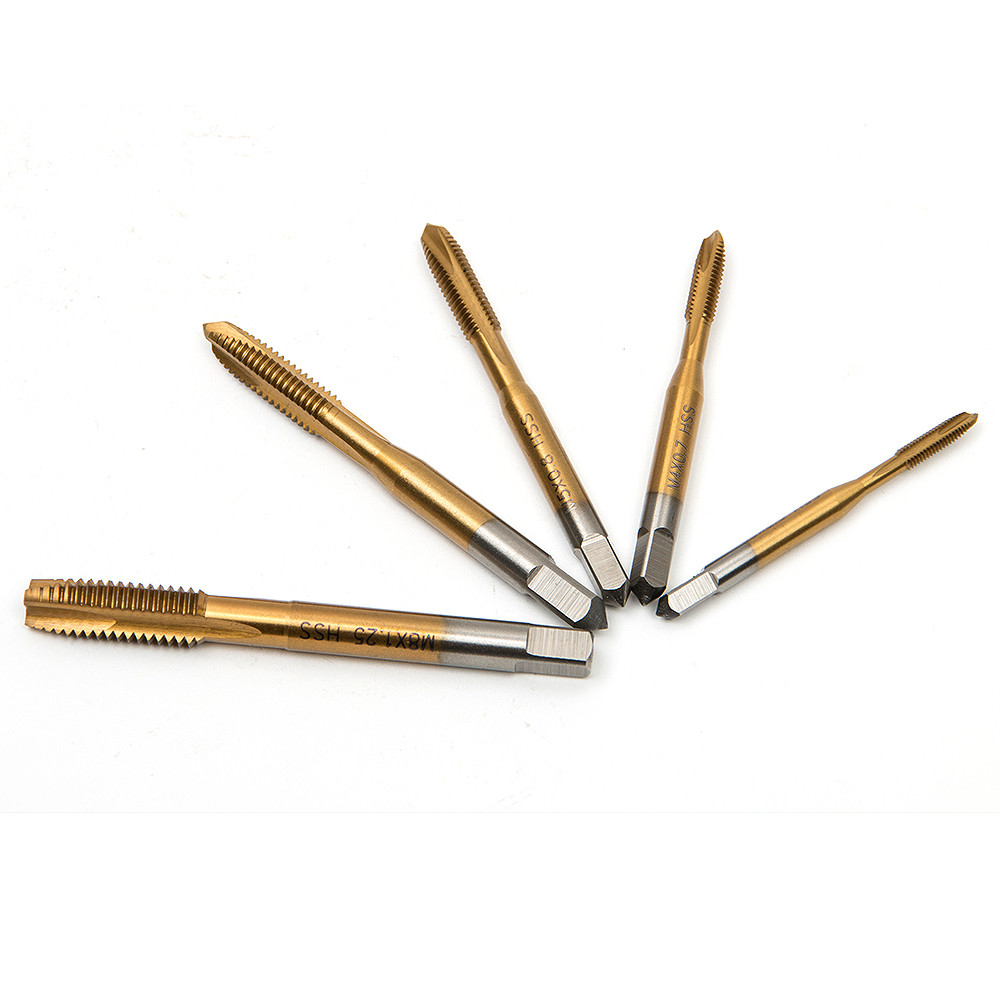 все цены на 5pcs high quality HSS Titanium Machine Right Hand Tap Drill M3 M4 M5 M6 M8 Spiral Point Thread Plug Handle Taps Die Set онлайн