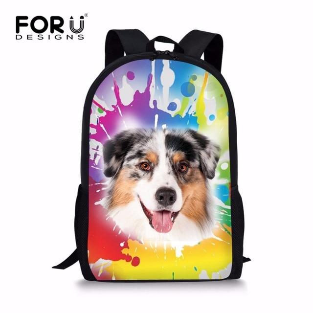 Forudesigns/картина собака школьная сумка для детей Дизайнерская детская художник школьная сумка Красочные начальной Обувь для девочек рюкзак Mochila