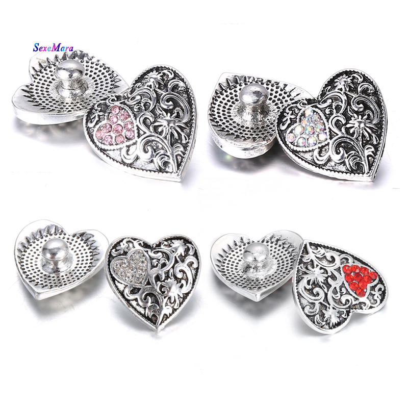 6pcs/lot Snap Button Jewelry Rhinestone Love Heart Snap Jewelry Diy Vintage Snap for Carter Love Bracelet One Direction Pulseras