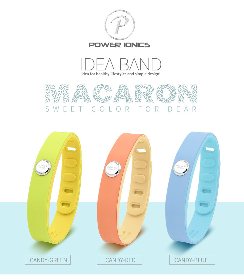 Power Ionics IDEA BAND 3000 Ions Sports Waterproof Titanium Bracelet Wristband Balance Body Macarons Series