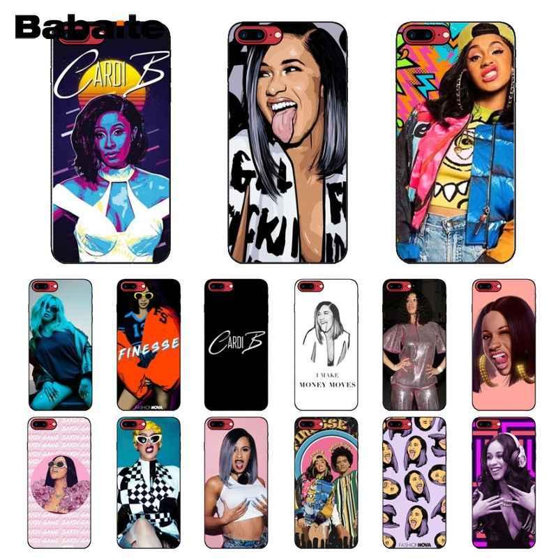 Babaite Mỹ Rap Ca Sĩ Cardi B Mềm Silicone Điện Thoại màu đen Trường Hợp đối với Apple iPhone 8 7 6 6 S Cộng Với XS X MAX 5 5 S SE XR Bìa