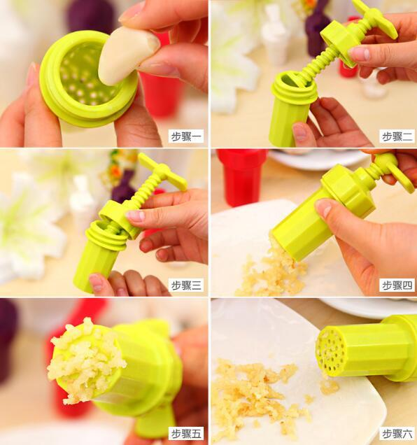 1pc Kitchen Gadgets Plastic Garlic Tools Rotary Garlic Presses Ginger Grinding supplies home kitchen tools LYQ 5