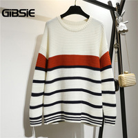 GIBSIE Plus Size Women Clothing 5XL 4XL 3XL Casual Striped Knitted Sweater Women Autumn Winter Drop