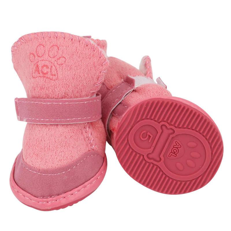 4 шт., толстая зимняя обувь для собак, теплая обувь, носки, чихуахуа, Йоркская обувь товары, товары для животных, плюшевые зимние Домашние животные, щенок, кошки, теплые сапоги, 38S1