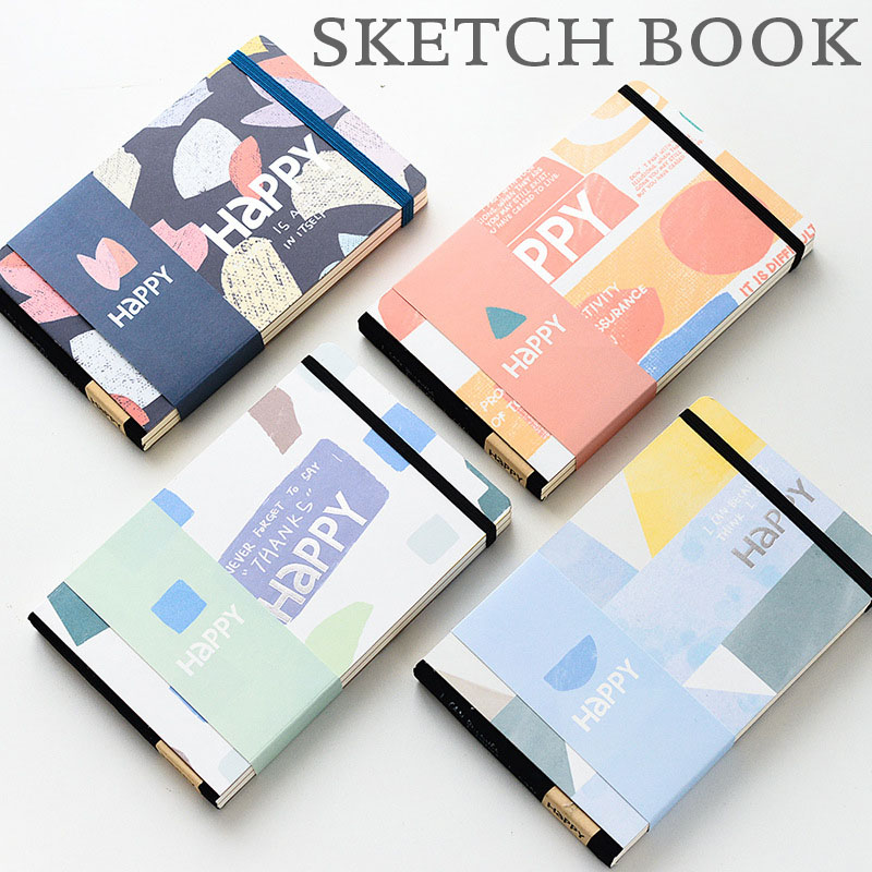 Hard Cover Notebook Creative Elastic Band Sketch Book Plain Journal Notebooks Writing Pads hard cover small notebook diary book pocket candy color elastic band ruled journal
