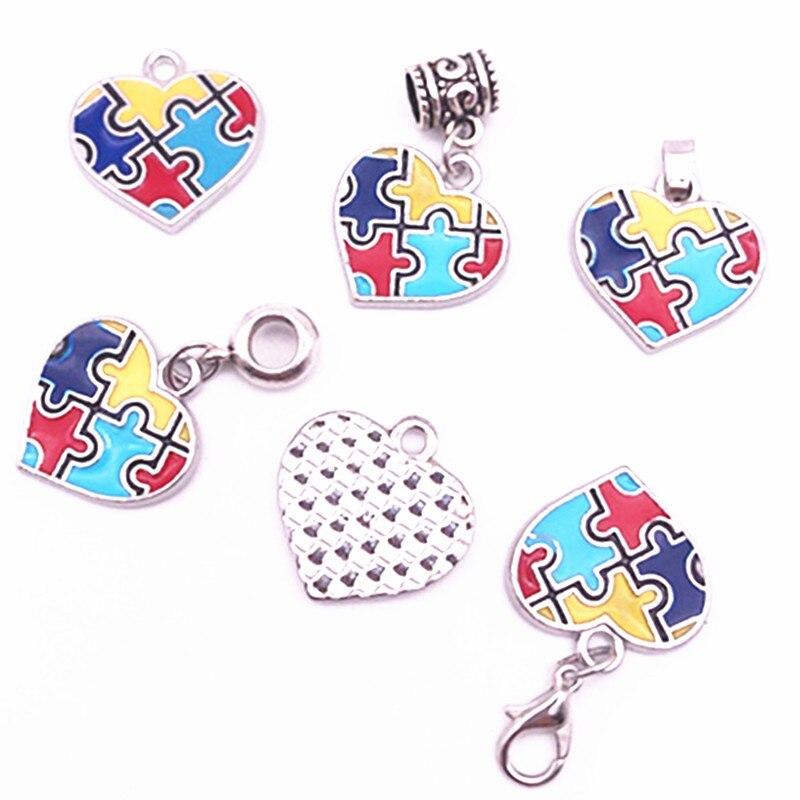 Hot Sale Heart Enamel Autism Awareness Puzzle Piece Charms Pendant For DIY Fashion Bracelet Necklace Earrings