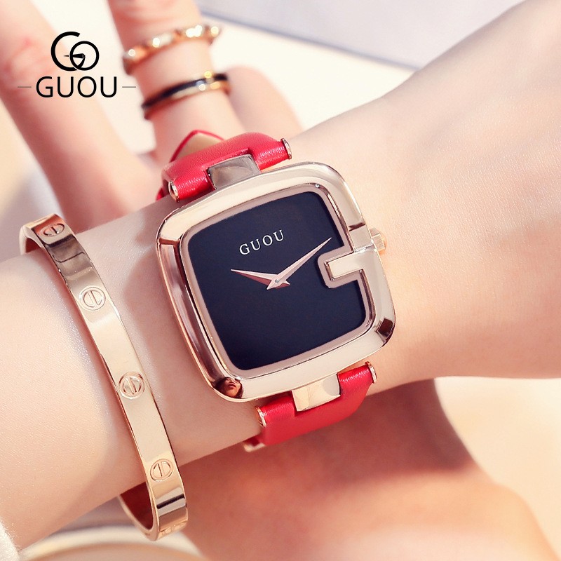 GUOU Brand Fashion Watches Women Ladies Casual Leather Quartz Watch Female Clock montre femme reloj mujer Hodinky bayan saat free shipping 10pcs l9128pd