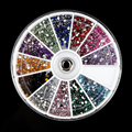 2400 pcs Multicolor 2mm 3D Nail Art Acrylic Round Glitter Rhinestones Plate Fingernail Tips Gem Sticker Decal Decoration Wheel