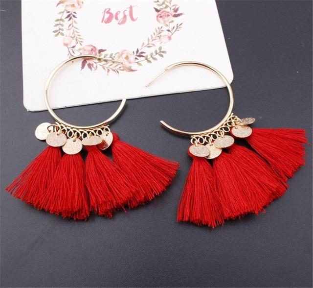 Lacoogh 2017 Ethnic Bohemia Drop Dangle Long Rope Fringe Cotton Tassel Earrings Trendy Sector Earrings for Women Fashion Jewelry 4