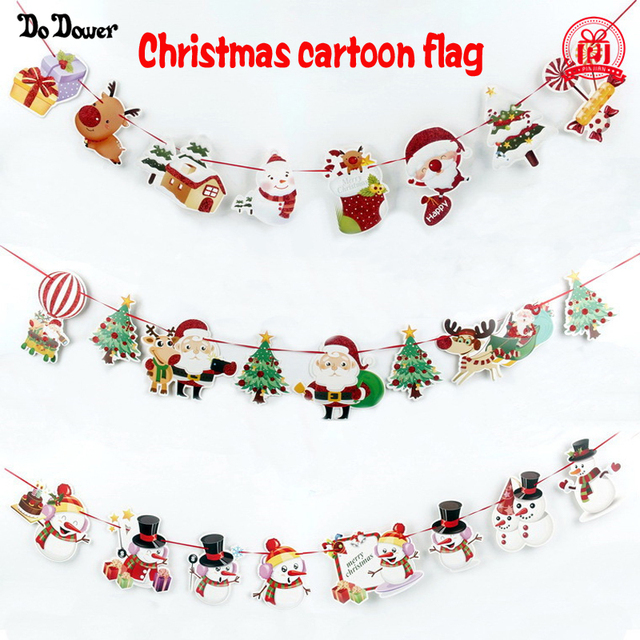 Us 1 99 2019 Explodes 8pcs Christmas Decorations Cartoon Santa Claus Hanging Flag Festival Scene New Year Decoration New Year S Decor In Pendant
